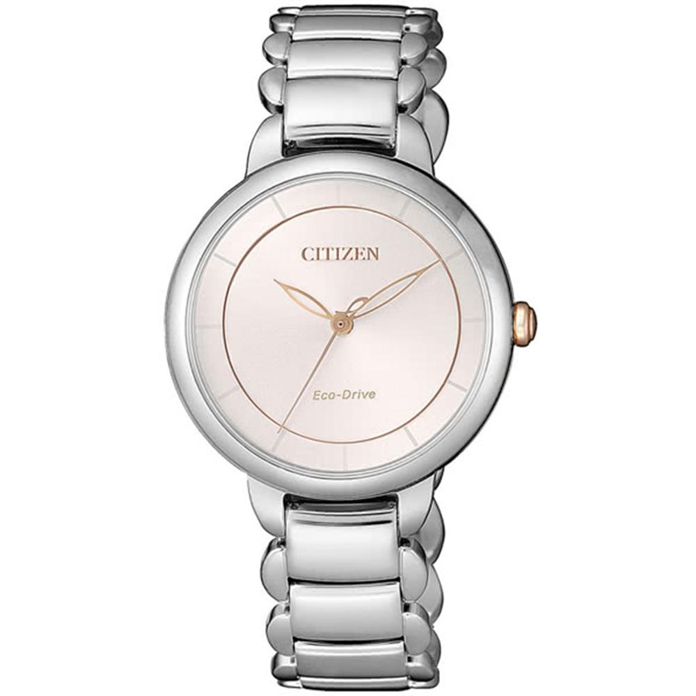 CITIZEN星辰L 系列 簡約優雅三針光動能女錶-玫瑰金EM0676-85X