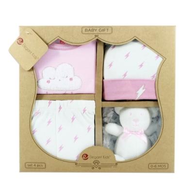 美國Elegant kids彌月禮盒-粉色小閃電4件式彌月禮盒