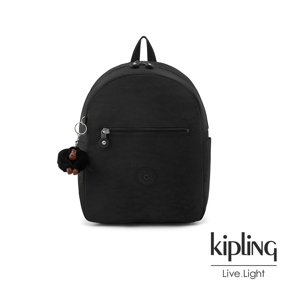 Kipling 質感黑簡約時尚拉鍊後背包-WINNIFRED M