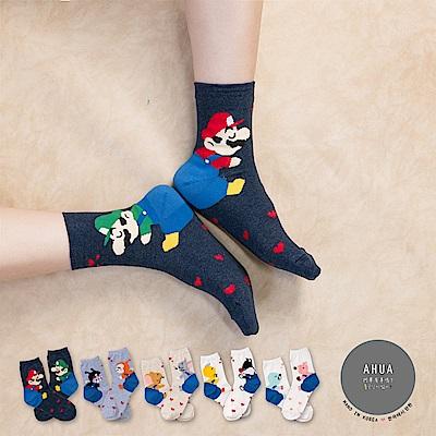 阿華有事嗎 韓國襪子 睡搞搞卡通中筒襪 韓妞必備長襪 正韓百搭純棉襪
