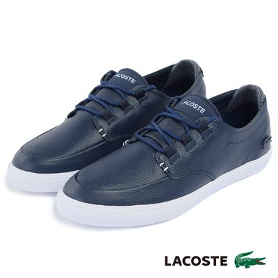 LACOSTE 男用真皮運動休閒鞋-藍色