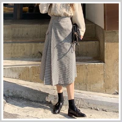 長裙 高腰格紋口袋質感長裙RJ6040-創翊韓都