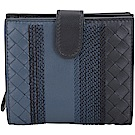BOTTEGA VENETA 藍色漸層刺繡小羊皮編織短夾