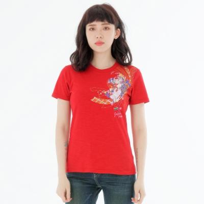 BIG TRAIN 和風花纏竹節棉修身女T-女-紅