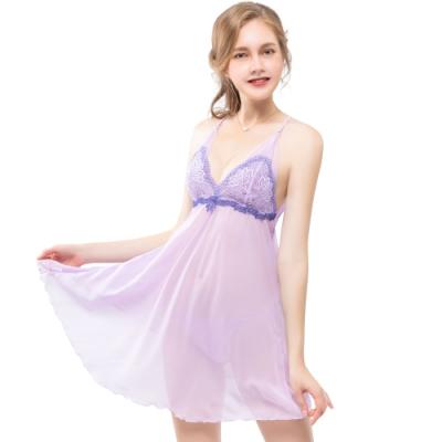 思薇爾 撩波系列連身蕾絲性感小夜衣(透氧紫)