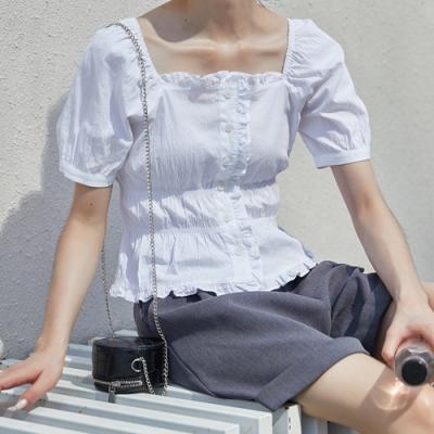甜美方領泡泡袖層次感排釦襯衫S-L(共二色)-白色戀人