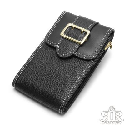 2R 訂製Gold金釦牛皮手機鍊帶收納包 百搭黑