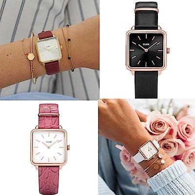 CLUSE La Tetragone系列腕錶皮錶帶多款選-28.5mm