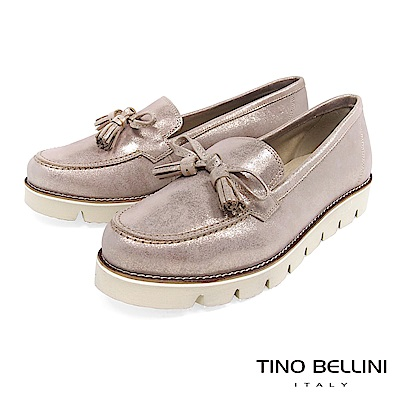 Tino Bellini 西班牙進口炫彩小流蘇蝴蝶結厚底莫卡辛鞋 _ 香檳金