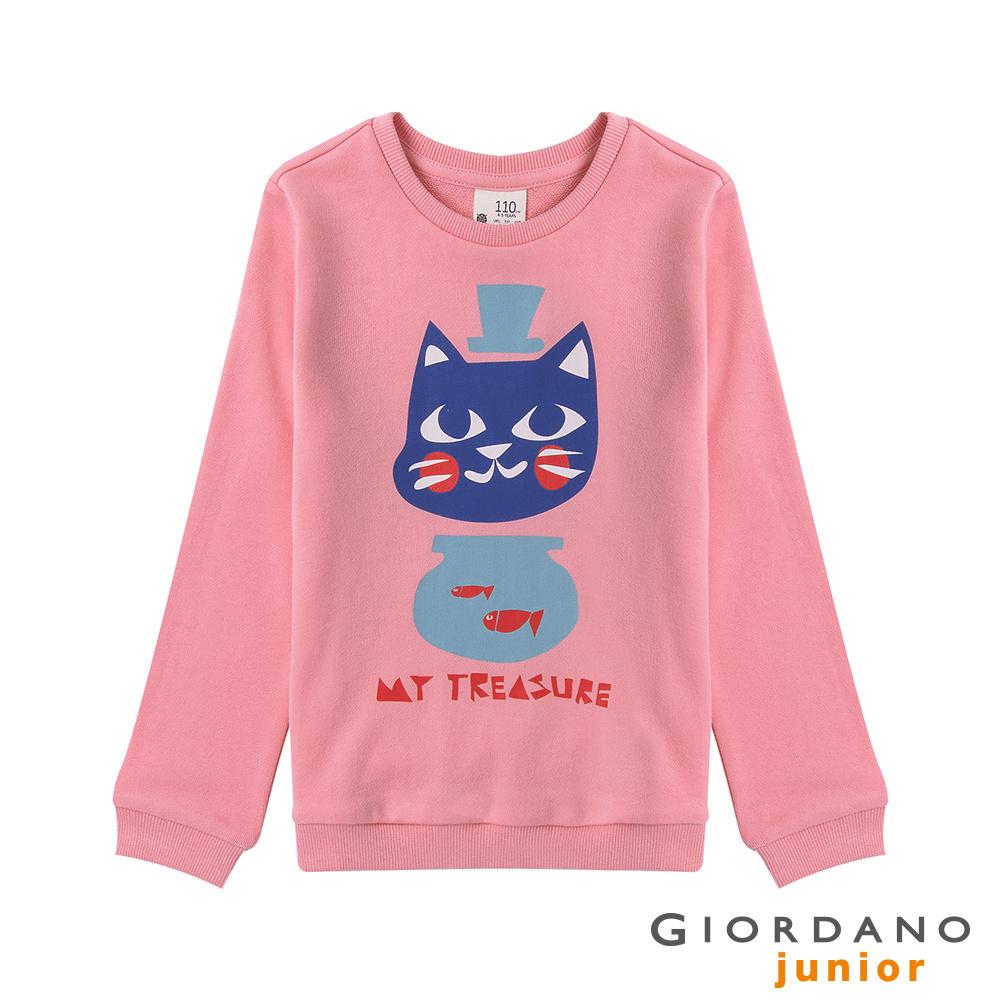 GIORDANO 童裝毛巾布趣味動物印花長袖T恤-44 牡丹紅
