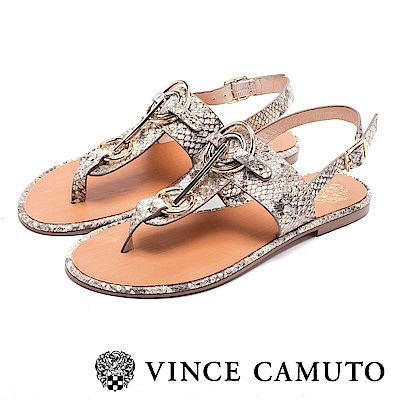 VINCE CAMUTO 個性金屬扣平底夾腳涼鞋-金色