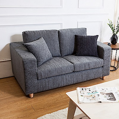 Bernice-薩奇灰色布沙發雙人椅/二人座(送抱枕)