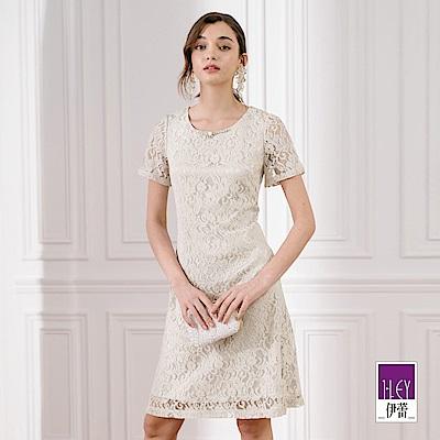 ILEY伊蕾 典雅縷空蕾絲短袖洋裝(灰)