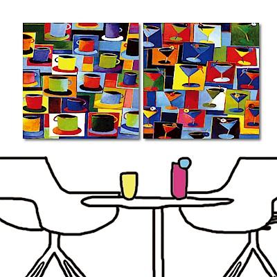 美學365 二聯無框畫餐廳掛畫-印象咖啡40x40cm