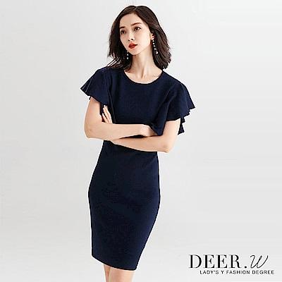 DEER-W-立體荷葉袖修身針織洋裝-藍色