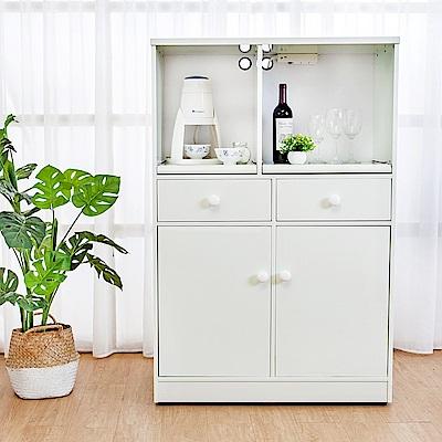 Birdie南亞塑鋼-2.9尺二開二抽塑鋼電器櫃/收納餐櫃(白色)-86x41x131cm