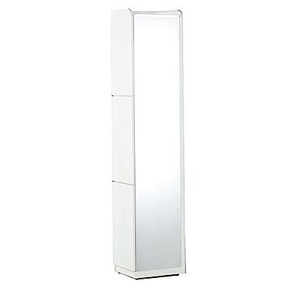 文創集 艾尼莎1尺鏡面化妝台/立鏡櫃(三色+化妝椅)-30x40x182cm-免組