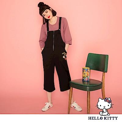 英倫系列~KITTY印花前拉鍊設計寬版七分連身褲-OB大尺碼