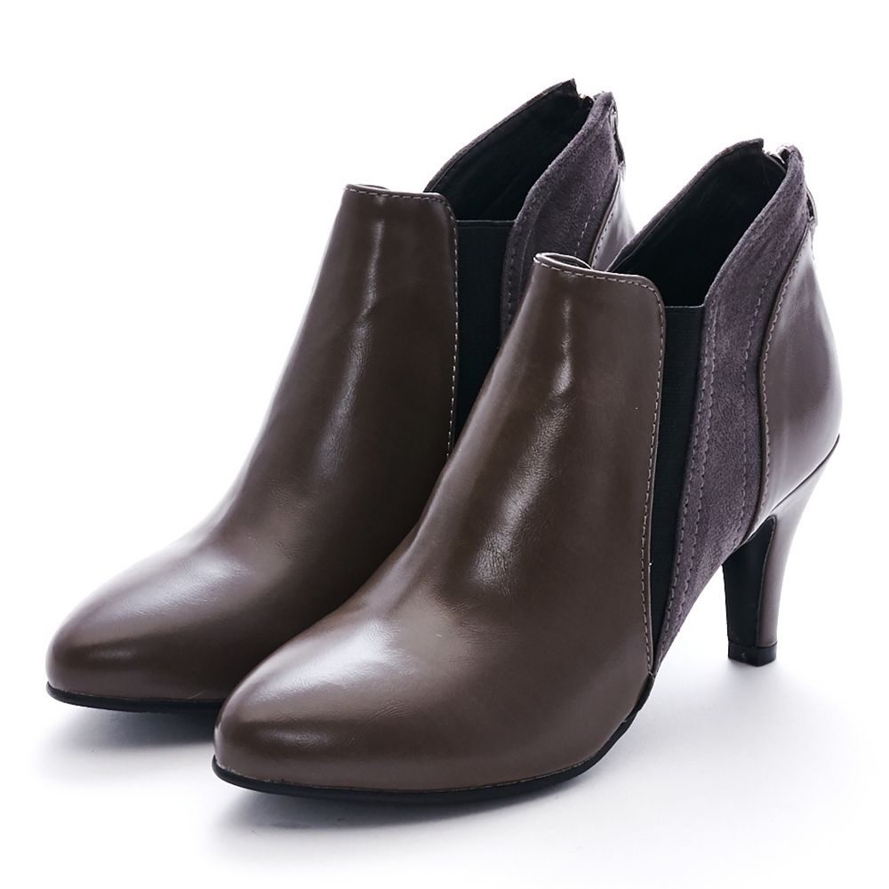 Camille's 韓國空運-尖頭拼接麂絨拉鍊細高跟踝短靴-咖啡