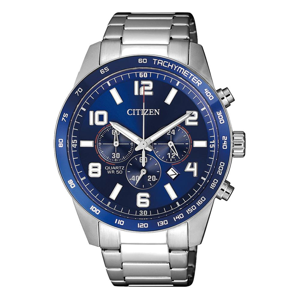 CITIZEN 榮耀時刻三眼腕錶-銀X藍(AN8161-50L)/43mm