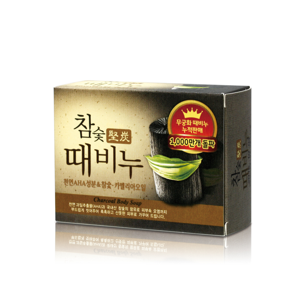 韓國MKH無窮花-汗蒸幕黑木炭去角質搓仙皂 100g