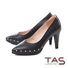 TAS金屬小圓鉚釘鱷魚壓紋尖頭高跟鞋-時尚黑