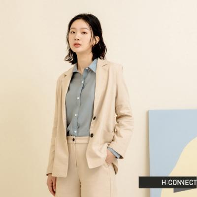 H:CONNECT 韓國品牌 女裝-奶油色系亞麻翻領西裝外套-米色