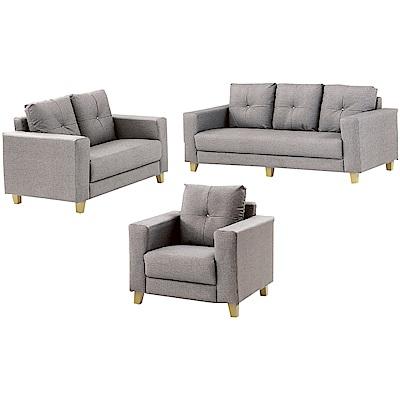 綠活居 巴尼時尚灰貓抓皮革獨立筒沙發椅組合(1+2+3人座)