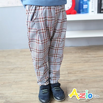 Azio Kids 褲子 雙邊口袋打摺35復古格紋鬆緊長褲(咖啡)
