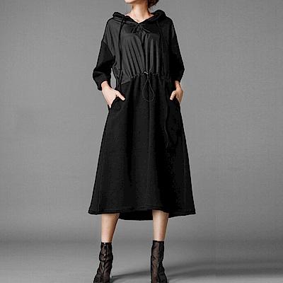 時尚寬版風衣拼接連帽洋裝-(共二色)Andstyle