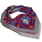 YSL 繽紛蔓藤LOGO圖騰高質感薄羊毛造型圍巾(深藍系)