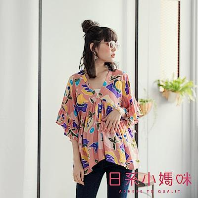 日系小媽咪孕婦裝-孕婦裝 甜美香蕉櫻桃前V後造型上衣