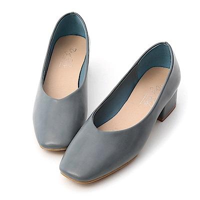 D+AF 優雅春氛.素面V口方頭低跟鞋*藍
