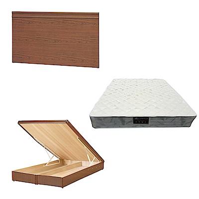 綠活居 可娜6尺雙人加大床台三式組合(床頭片+後掀床底+抗菌防蹣獨立筒)五色可選