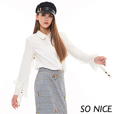 SO NICE優雅荷葉袖設計襯衫