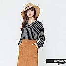 H:CONNECT 韓國品牌 女裝-半開襟條紋配色襯衫-藍
