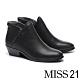 短靴 MISS 21 簡約率性槍色拉鍊牛皮粗高跟短靴-黑 product thumbnail 1