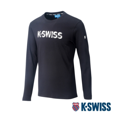 K-SWISS Cotton KS Logo Tee 1印花長袖T恤-女-黑
