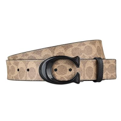 COACH 經典SIGNATURE帆布印花雙面經典扣環皮帶(咖啡x黑)