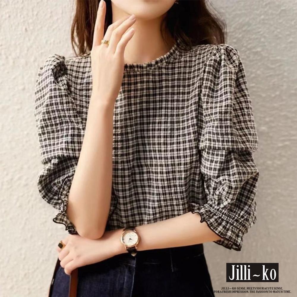 JILLI-KO 格紋泡泡袖皺面小衫- 黑色 (黑色系)