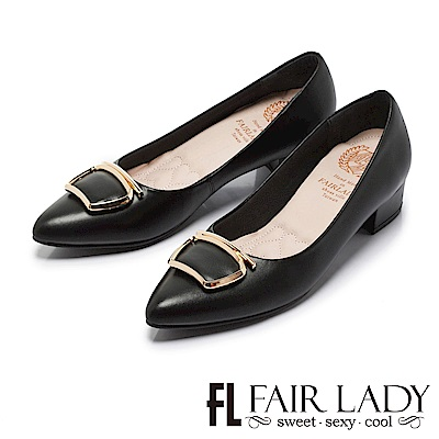 Fair Lady Cube Chic塊時尚 獨特金屬美型尖頭粗跟鞋 黑