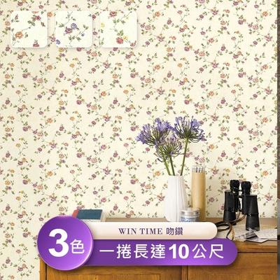 【Win time 吻鑽】台製環保無毒防燃耐熱53X1000cm北歐植物碎花壁紙/壁貼3捲