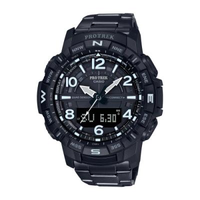 CASIO卡西歐 PRO TREK 藍牙 登山 鈦金屬錶帶 PRT-B50YT-1_50.8mm