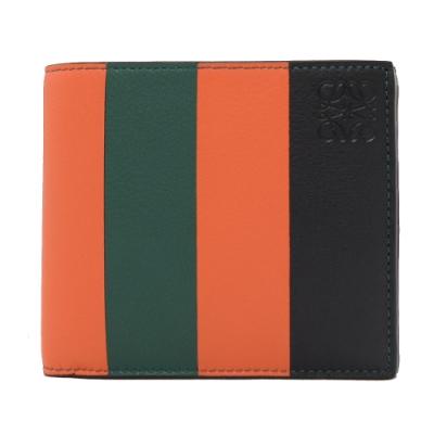 LOEWE 烙印LOGO彩色條紋牛皮對開八卡短夾(橘綠黑)