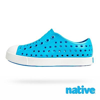native 大童鞋 JEFFERSON 小奶油頭鞋-精靈藍x貝殼白
