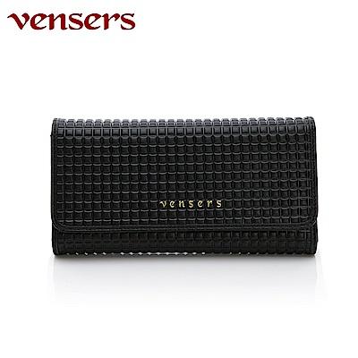 vensers 小牛皮潮流個性皮夾~(TA555501黑色長夾)
