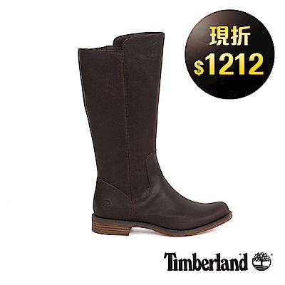 Timberland 女款深咖啡色皮革Magby高筒靴 | A1GZAA66
