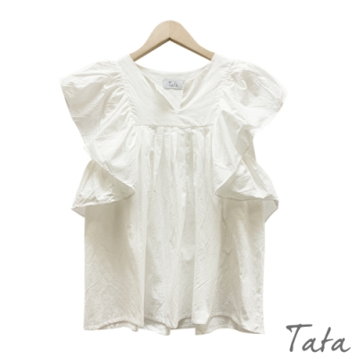 小V領抓摺荷葉上衣 共二色 TATA-(S/M)