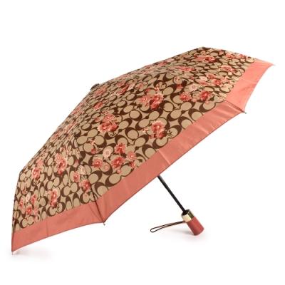 COACH 滿版C經典LOGO花花圖案全自動開闔晴雨傘-粉/卡其色