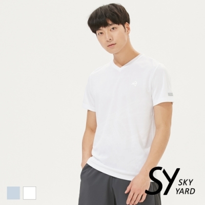 【SKY YARD 天空花園】幾何爆裂壓紋吸濕排汗運動T恤-白色